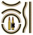Bullet and machinegun cartridge belt vector image