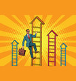 businessman climbs up the stairs vector image