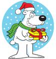 Cartoon polar bear holding a gift vector image