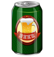 Fresh beer in green can vector image