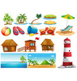 summer theme with ocean and buildings vector image