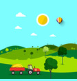 Field nature cartoon with trees and tractor sunny vector image