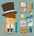 Businessman and tool character flat design vector image