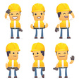 set of contractor character in different poses vector image