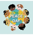 Peace dayEarth globechildren of various nation vector image