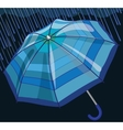 Blue umbrella protects from rain and storm vector