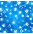 Blue blurred background with glowing snowflakes vector image