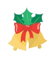 Christmas bells with a red ribbon and Holly leaves vector image