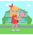 Girl Holds Lollipop in Hands in Front of Houses vector image