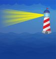 Light house on the sea at night vector image