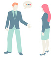Men and Women Communicate flat design pastel vector image