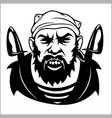 Pirate captain holding two swords and bandanna vector image