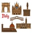 Symbolic travel landmarks of Italy thin line icon vector image