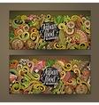 Cartoon doodles japanese food banners vector image