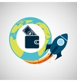 start up globe business wallet money vector image