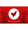 Rooster with bamboo background vector image