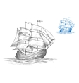 Sketch of sailing ship under full sail vector image