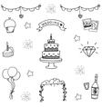 Wedding doodle vector image