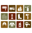 Flat fire-brigade and fireman equipment icon vector image