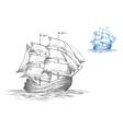Sketch of sailing ship under full sail vector image