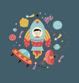 space icons in cartoon style collection vector image