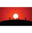 Zombie halloween with full moon backgrounds vector image