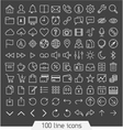 100 line icon set vector image