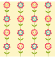 Cute seamless pattern with smiling flowers vector image