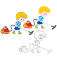 Boy with a vacuum cleaner vector image