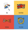 British National Symbols Icons Set vector image