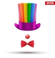 Clown hat with glasses and red nose isolated on vector image