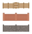 Different designs of fences and gates isolated vector image