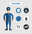 Flat Design of Policeman with Icon Set Infographic vector image