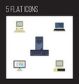 flat icon laptop set of computer display vector image