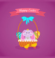 hare sitting in basket to easter eggs vector image