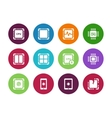 Modern CPU circle icons on white background vector image