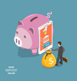 online bank deposit flat isometric concept vector image