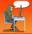 pop art hacker stealing data from computer vector image