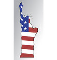 silhouette of the statue of liberty in the colors vector image