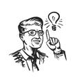 Idea concept with man and lightbulb Retro sketch vector image