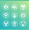 trees line icons set palm fir baobab eucalyptus vector image