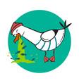 funny cartoon seagull spew vector image