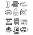 icons for seafood market or fish restaurant vector image