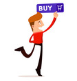 young man press the buy button vector image vector image