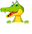 funny crocodile cartoon posing with blank sign vector image vector image