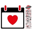 Favourite Heart Calendar Day Flat Icon With vector image