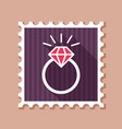 flat wedding ring with a diamond stamp vector image