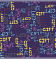 seamless pattern doodle gift words on blue vector image