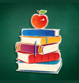 Sticker with pile of books and apple vector image