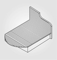 3d view of a wooden bed furniture drawing vector image